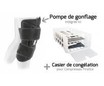 Attelle articulée gonflable Genou Cryothérapie FIRSTICE + Casier congélation et Pack froid Combo DFP - EZY WRAP - SOBER