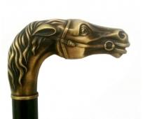 Canne Bois - Poignée Tête de Cheval Vieux Bronze - HERDEGEN