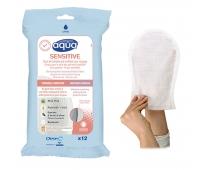 Gants de Toilette Pré-Imbibés - Aqua Sensitive - Sachet de 12 - PHARMAOUEST