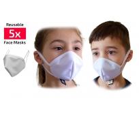 Masque Barrière - Blanc - Enfant 4 à 10 ans - sachet de 5 - ICON