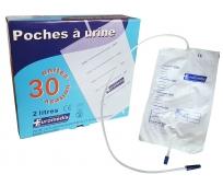 Poche à Urines 2L - Valve et Robinet - 3 sachets de 10 - LPPR - EUROMEDIS