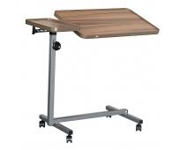 Table de Lit - Hauteur Réglable - Plateau Inclinable - avec Tablette Latérale Fixe - couleur Hêtre FoncéA - Tea