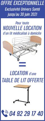 1 Nouvelle Location de Lit médicalisé à domicile = 1 Location de Table de Lit OFFERTE